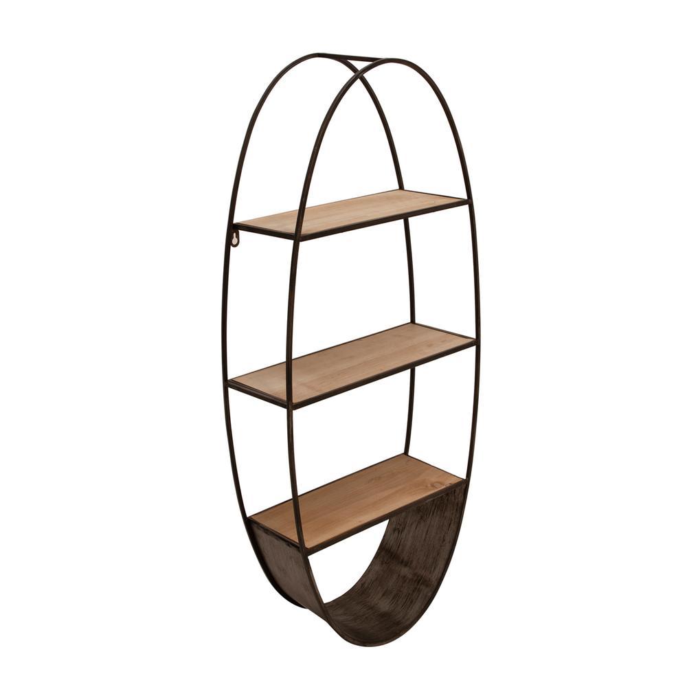 See Details - Oval Wood/metal Wall Shelf