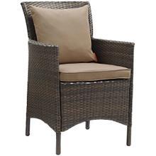 Conduit Outdoor Patio Wicker Rattan Dining Armchair in Brown Mocha