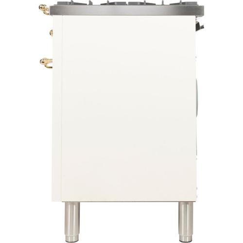 Nostalgie 40 Inch Dual Fuel Liquid Propane Freestanding Range in Antique White with Brass Trim