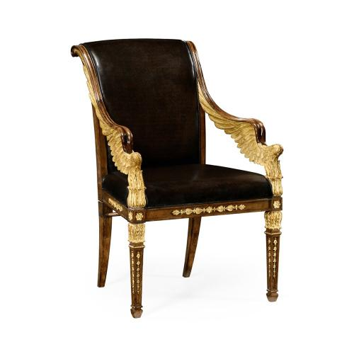 Empire Angel Arm Chair, Upholstered in Antique Caviar Black Leather