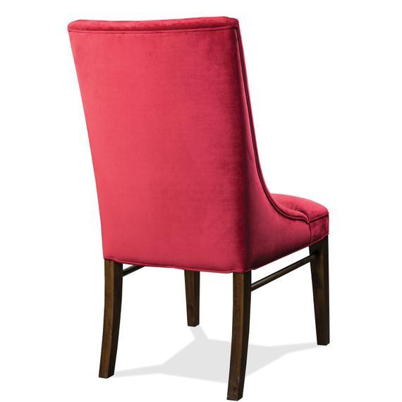 Riverside - Mix-n-match Chairs - Red Velvet Side Chair - Hazelnut Finish