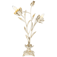 Distressed Ivory & Gold Flower Table Accent Lamp. 40W Max