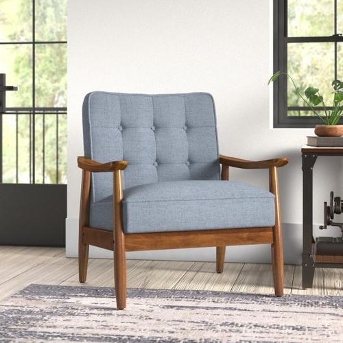 Accentrics Home - Button Tuft Back Wood Frame Armchair- Cornflower