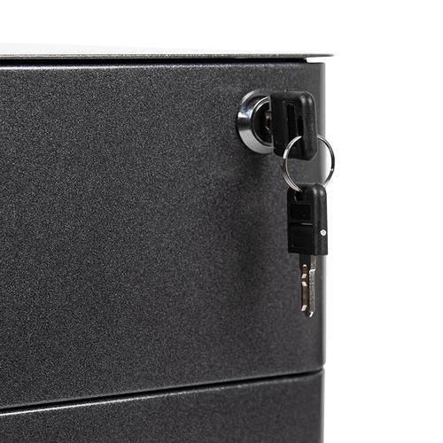 Flash Furniture - Modern 3-Drawer Mobile Locking Filing Cabinet with Anti-Tilt Mechanism and Hanging Drawer for Legal & Letter Files, Black