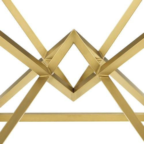 """Point 25.5"""" Brushed Gold Metal Stainless Steel Side Table in Gold"""