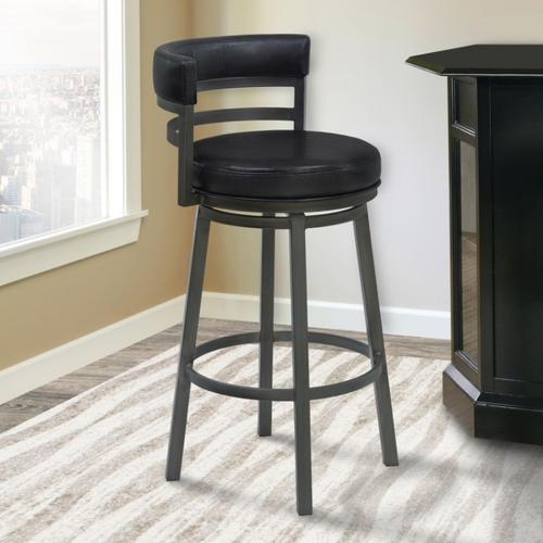 """Armen Living Madrid 30"""" Bar Height Metal Swivel Barstool in Ford Black Pu and Mineral Finish"""