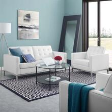 Loft Tufted Upholstered Faux Leather Loveseat and Armchair Set in Silver White