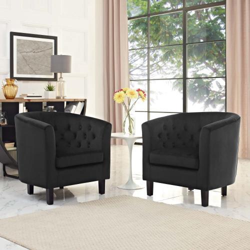 Prospect 2 Piece Performance Velvet Armchair Set in Black