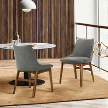 Azalea Charcoal Fabric and Walnut Wood Dining Side Chairs - Set of 2