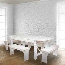 "HERCULES Series 40"" x 12"" Antique Rustic White Solid Pine Folding Farm Bench"