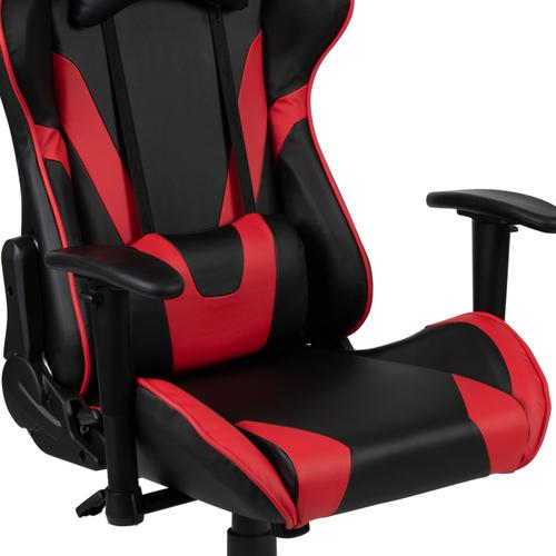 Gallery - Red Gaming Desk and Red\/Black Reclining Gaming Chair Set with Cup Holder and Headphone Hook
