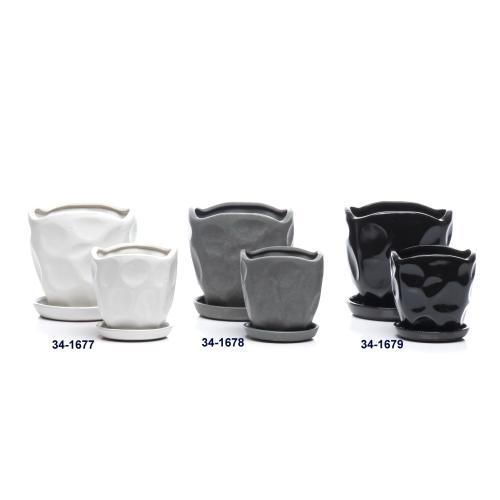 Alfresco Home - Pinchpot Petits Pots w/ attached saucer, Snow - Set of 2 (Min 4 sets)