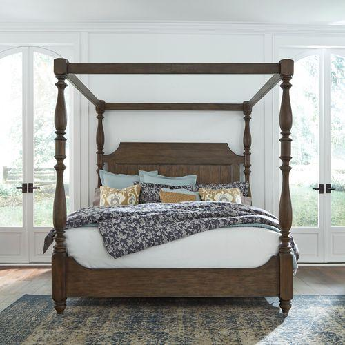 Queen Canopy Bed, Dresser & Mirror, Night Stand