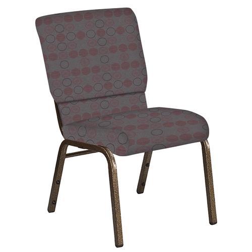 Flash Furniture - 18.5''W Church Chair in Galaxy Taupe Fabric - Gold Vein Frame
