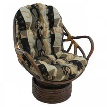 Bali Rattan Swivel Rocker Chair with Jacquard Chenille Cushion - Walnut/Elysian Fields