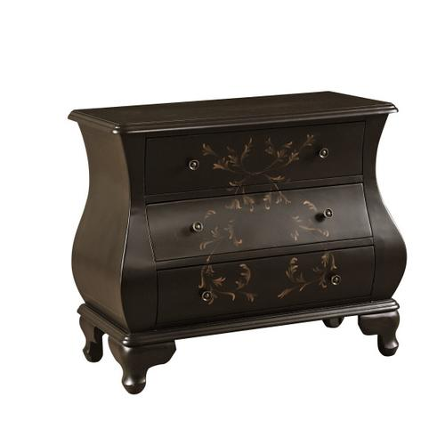 Three Drawer Bombe Chest in Black