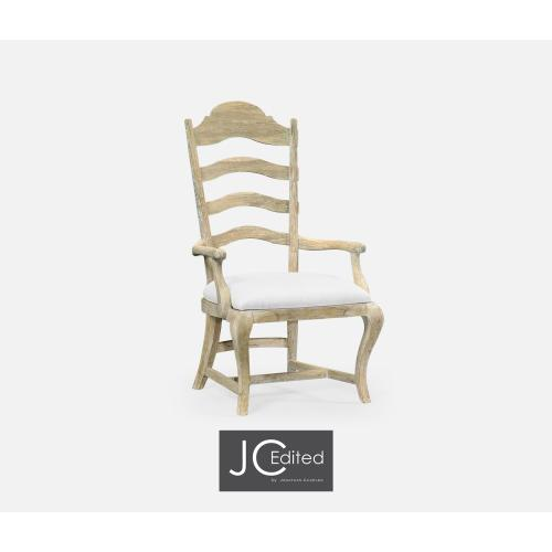Limed Acacia Dining Armchair, Upholstered in COM