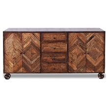 CORBY SIDEBOARD  Reclaimed Walnut Finish on Mango Wood with Iron Frame on Casters  4 Door 4 Drawer