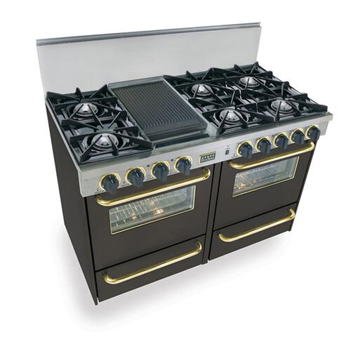 """Five Star - 48"""" All Gas Range, Open Burners, Black with Brass Trim"""