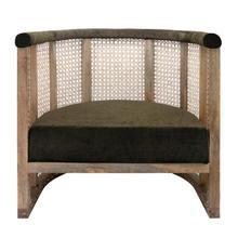 "Wood 28"" Cane Barrel Chair"