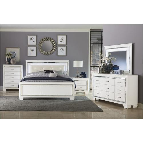 1916 ALLURA WHITE 4PCS QUEEN BED, LED LIGHTING