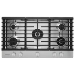 "KitchenAid36"" 5-Burner Gas Cooktop with Griddle - Stainless Steel"