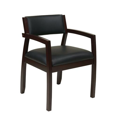 Napa Espresso Guest Chair With Upholstered Back, Black Bonded Leather