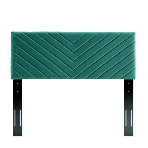 Alyson Angular Channel Tufted Performance Velvet Twin Headboard in Teal