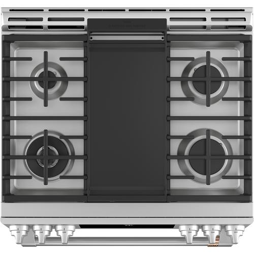 "Café 30"" Slide-In Front Control Gas Oven with Convection Range Stainless Steel"