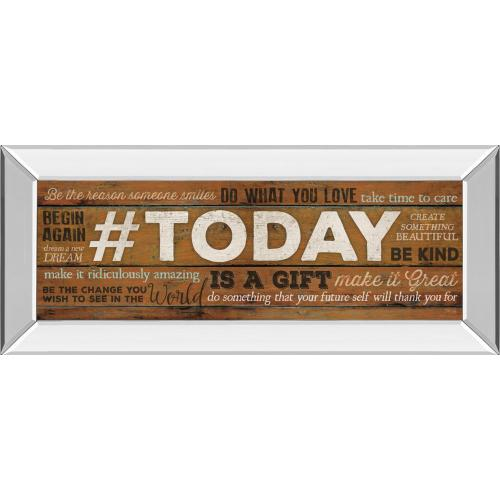 """Classy Art - """"Today Is A Gift"""" By Marla Rae Motivational Mirror Framed Print Wall Art"""