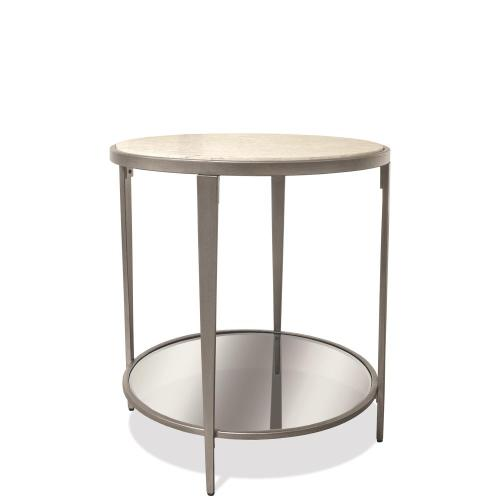 Wilshire - Round Side Table - White Sands Finish