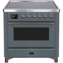 See Details - Majestic II 36 Inch Electric Freestanding Range in Blue Grey with Bronze Trim