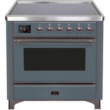 Majestic II 36 Inch Electric Freestanding Range in Blue Grey with Bronze Trim
