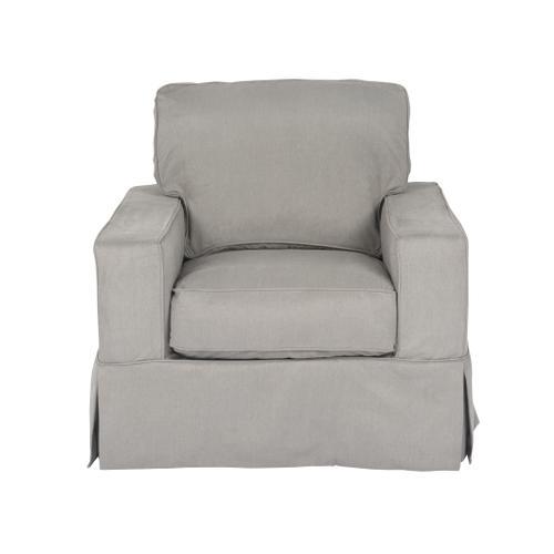 Americana Slipcovered Chair and Ottoman - 391094