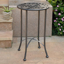 Mandalay 16-inch Outdoor Side Table - Hammered Pewter