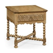 Natural oak square side table