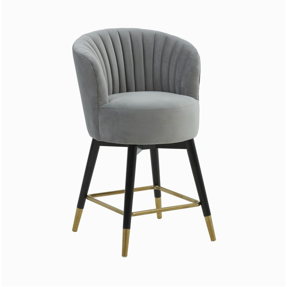 Liana Grey Velvet Swivel Stool by Inspire Me! Home Decor