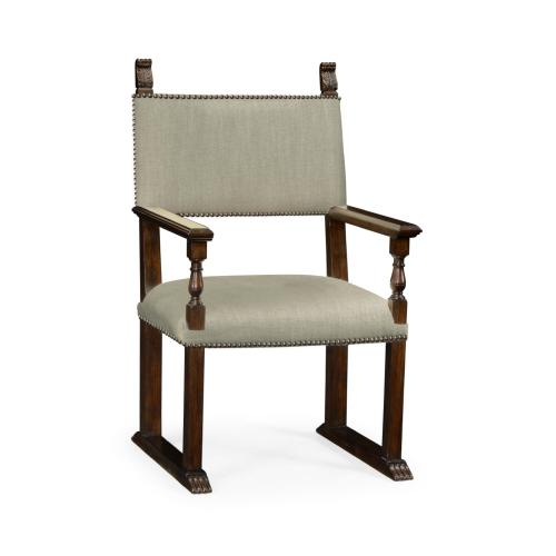 Acanthus Carved Rich Chestnut Dining Armchair, Upholstered in MAZO
