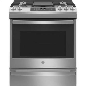 """GE 30"""" Slide-In Convection Gas Range with No Preheat Air Fry Stainless Steel - JCGS760SPSS"""