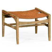 Midcentury style slung leather light oak stool or footstool