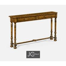 Country Walnut Console with Strap Handles