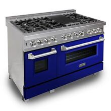 ZLINE 48 in. Professional Dual Fuel Range in Snow Stainless with Blue Gloss Door (RAS-BG-48)