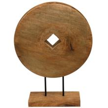 Native Wheel  16in X 5in X 21in Natural Wood Table Top Carved Sculpture