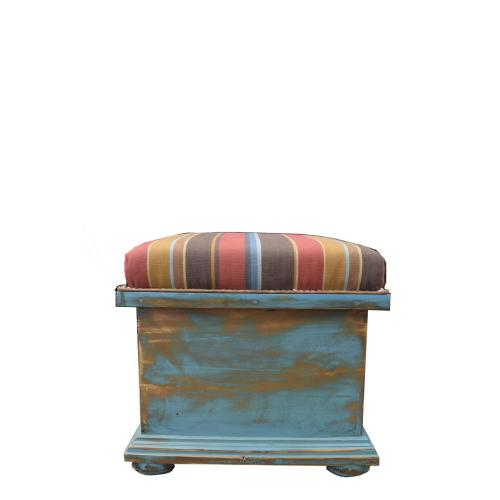 Turquoise Storage Ottoman W/Fabric Top