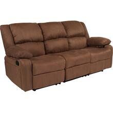 See Details - Harmony Series Chocolate Brown Microfiber Sofa with Two Built-In Recliners