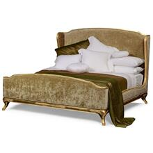 UK King Louis XV bed (Gold leaf/Velvet calico)