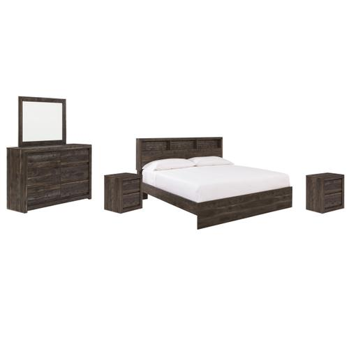 Ashley - King Bookcase Panel Bed With Mirrored Dresser and 2 Nightstands