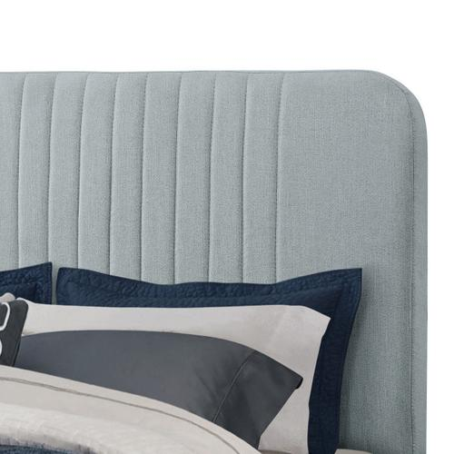 Mid Century Channeled Full Upholsted Bed in Modern Blue