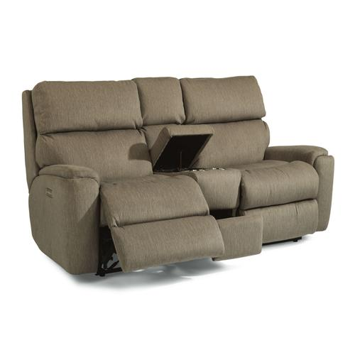 Flexsteel - Rio Power Reclining Loveseat with Console and Power Headrests