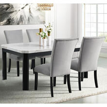 Cambridge Solano Dining 5-Piece Set with Marble Tabletop and 4 Velvet Fabric Side Chairs, 982004-5PC-GRY